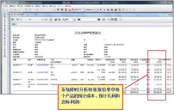 万达宝ERP系统销售报价利润预计管理功能介绍