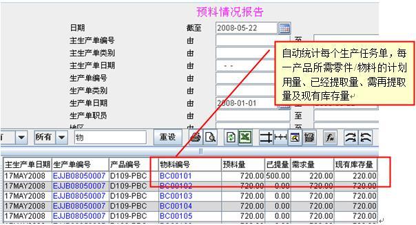 万达宝ERP生产管理系统提料单管理功能